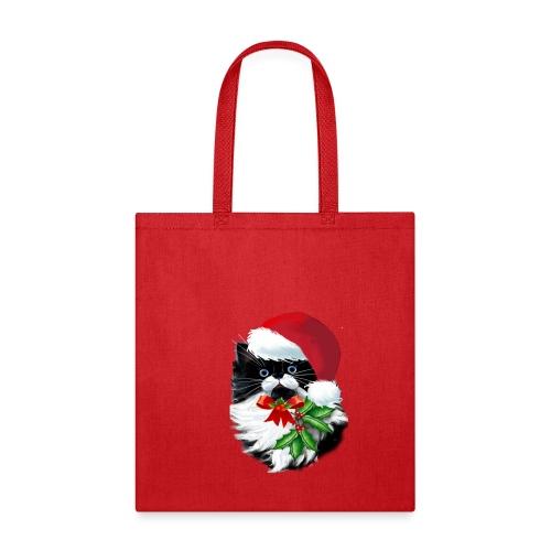Tuxedo Kitty at Christmas - Tote Bag