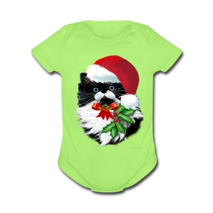 Tuxedo Kitty at Christmas - Short Sleeve Baby Bodysuit