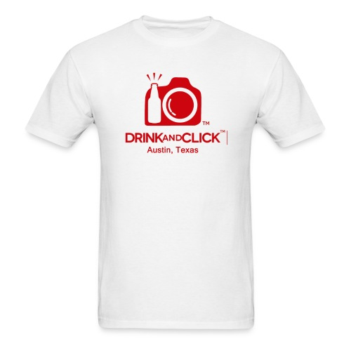 Men's White T-Shirt Austin, Texas - Drink and Click  - Men's T-Shirt
