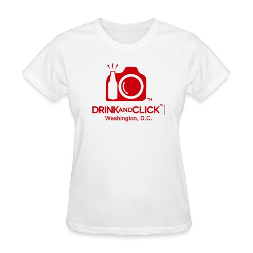 Women's White T-Shirt Washington D.C. - Drink and Click  - Women's T-Shirt