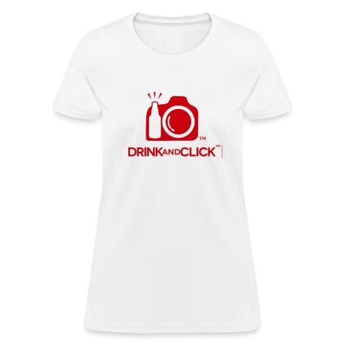 Women's White T-Shirt  Drink and Click  - Women's T-Shirt