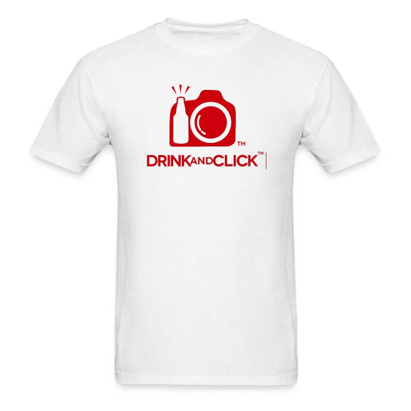 Men's White T-Shirt Drink and Click  - Men's T-Shirt