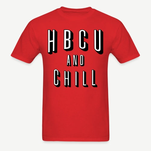 HBCU And Chill - Men's White, Black and Red T-shirt - Men's T-Shirt