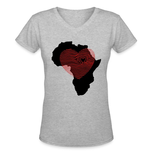 Africa Fingerprint Tee - Women's V-Neck T-Shirt