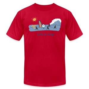 Sharks Circling Surfing - Mens T-shirt by American Apparel - Men's T-Shirt by American Apparel