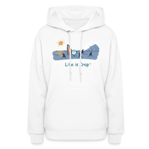 Sharks Circling Surfing - Womens Hooded Sweatshirt - Women's Hoodie