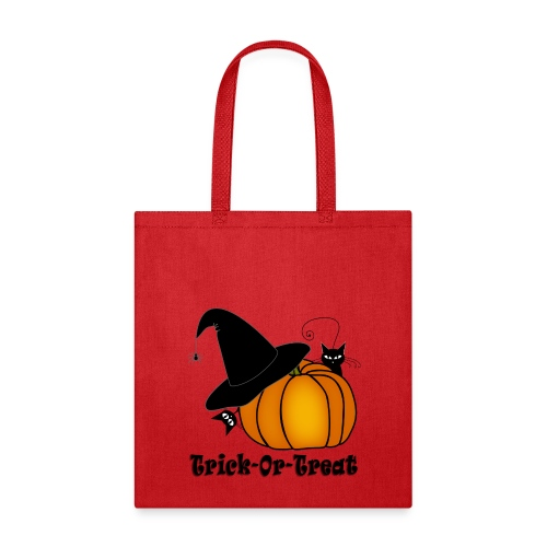 Trick-Or-Treat Witch's Hat, Cats, & Pumpkin - Tote Bag