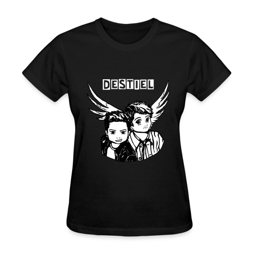 Destiel in Black and White (with writing) - Women's T-Shirt