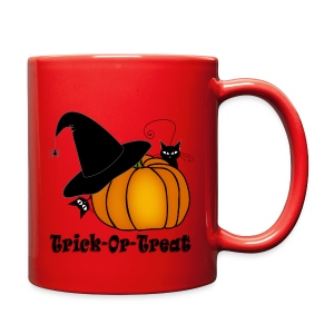 Trick-Or-Treat Witch's Hat, Cats, & Pumpkin - Full Color Mug