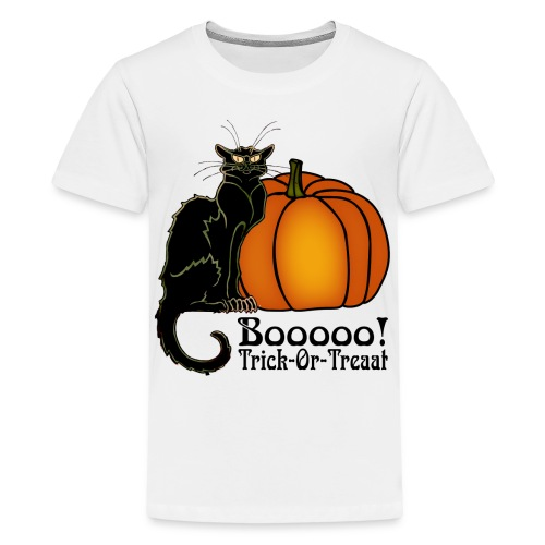 Trick-Or-Treat Art Neouvou Black Cat & Pumpkin - Kids' Premium T-Shirt