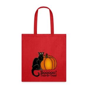Trick-Or-Treat Art Neouvou Black Cat & Pumpkin - Tote Bag