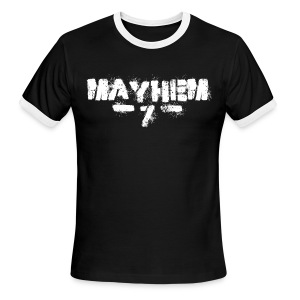 MayheM7 Logo-7 White - Men's Ringer T-Shirt