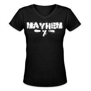 MayheM7 Logo-7 White - Women's V-Neck T-Shirt