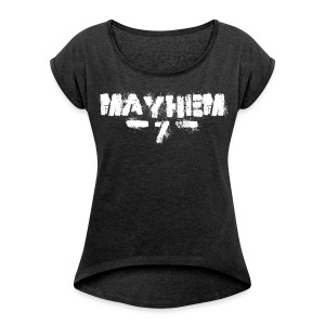 MayheM7 Logo-7 White - Women's Roll Cuff T-Shirt