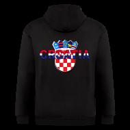 Zip Hoodies & Jackets ~ Men's Zip Hoodie ~ Croatia Hrvatska logo Sahovnica 3D Sahovnica on sleeves