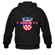 Zip Hoodies & Jackets ~ Men's Zip Hoodie ~ Croatia Hrvatska logo Sahovnica 3D Sahovnica on sleeves