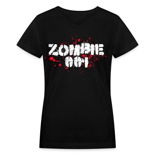 Zombie 001 - Women's V-Neck T-Shirt