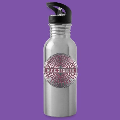 Manhole Covers Brooklyn Pink Bottle - Water Bottle