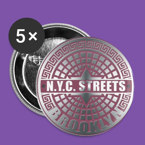 Manhole Covers Brooklyn Pink Button - Large Buttons
