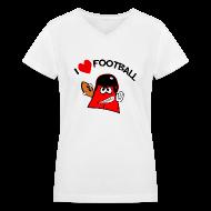 T-Shirts ~ Women's V-Neck T-Shirt ~ I Love Football. TM Ladies V-Neck Shirt