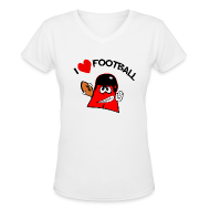 Women's T-Shirts ~ Women's V-Neck T-Shirt ~ I Love Football. TM Ladies V-Neck Shirt