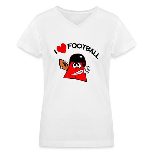 I Love Football. TM Ladies V-Neck Shirt - Women's V-Neck T-Shirt