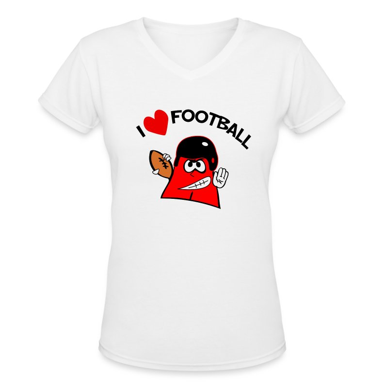 I Love Football. TM Ladies V-Neck Shirt - Women's V-Neck T-Shirt