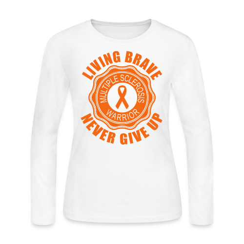 MS Warrior - Women's Long Sleeve (Orange) - Women's Long Sleeve Jersey T-Shirt