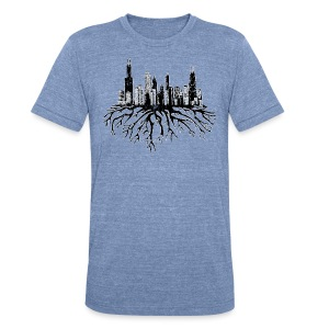 Chicago Skyline Roots - Unisex Tri-Blend T-Shirt by American Apparel