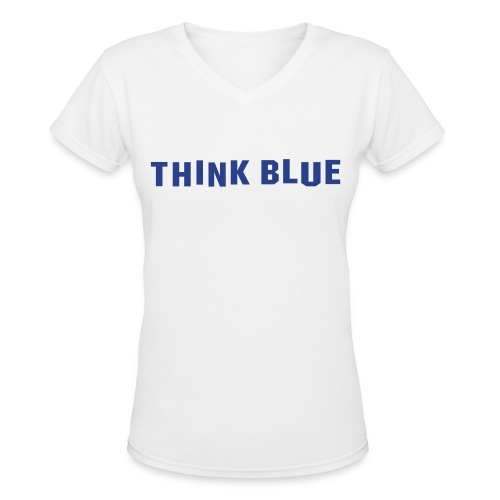 LA DODGERS THINK BLUE - Women's V-Neck T-Shirt