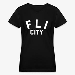 FLI CITY - Women's V-Neck T-Shirt