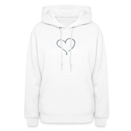 Hoodies ~ Women's Hoodie ~ gray blue heart