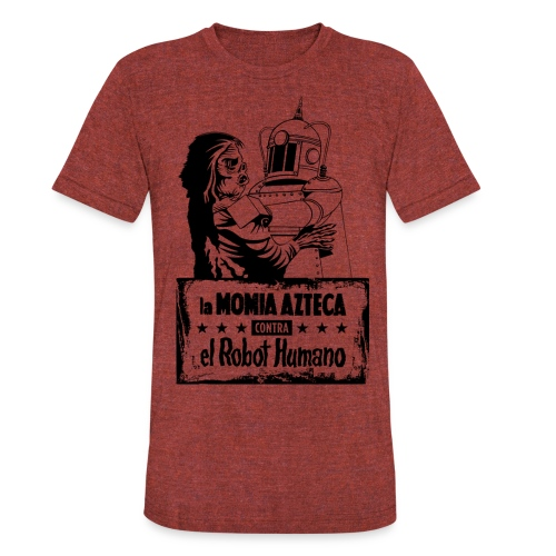 Mummy vs Robot - Unisex Tri-Blend T-Shirt