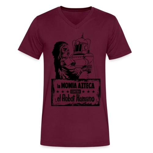 Mummy vs Robot - Men's V-Neck T-Shirt by Canvas