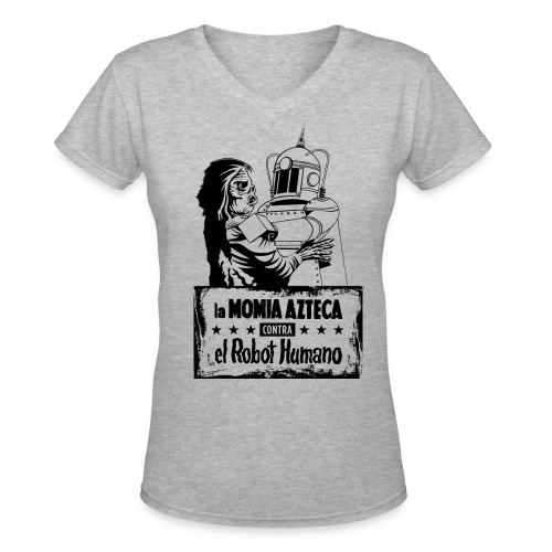 Mummy vs Robot - Women's V-Neck T-Shirt