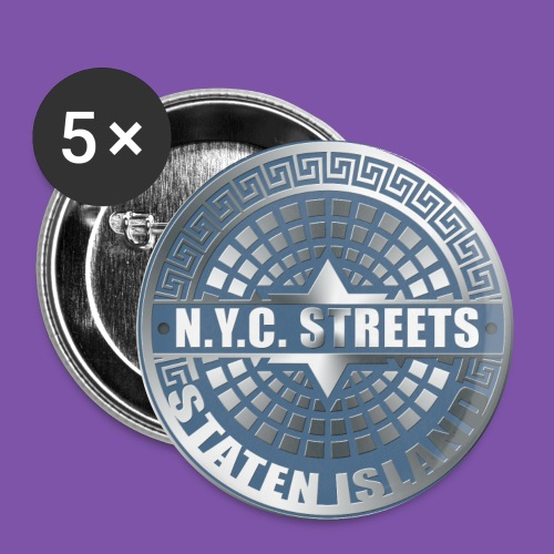 Manhole Covers Staten Island Blue Button - Small Buttons