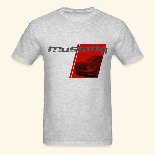 Mustang on Red Stripe - Men's T-Shirt