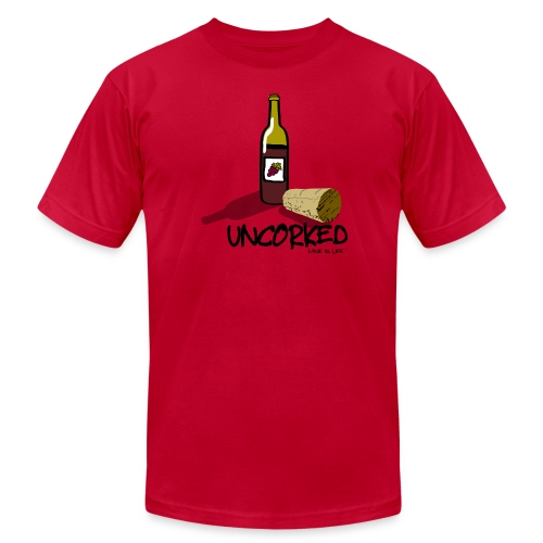 Wine is LIfe Uncorked - Mens Tee by American Apparel - Men's Fine Jersey T-Shirt