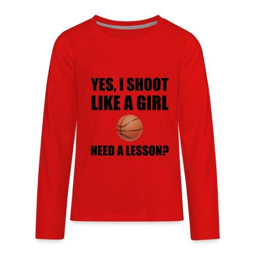 Girl shooting lesson long sleeve - Kids' Premium Long Sleeve T-Shirt