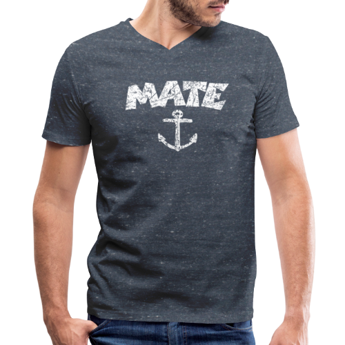 Mate Anchor Sailing T-Shirt (Distressed White) - Men's V-Neck T-Shirt by Canvas