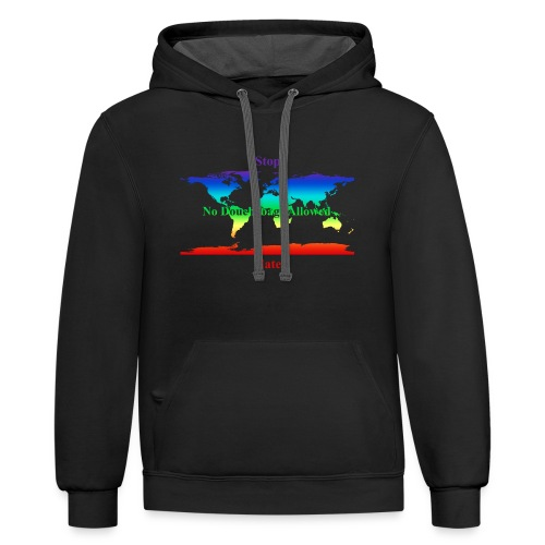 STOP HATE Rainbow Earth Contrast Style Hoodie for All Humans - a part of the profits will go to the SPLC thru the end of 2018 - Contrast Hoodie