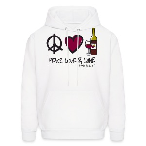 Peace, Love, & Wine - Mens Hooded Sweatshirt - Men's Hoodie