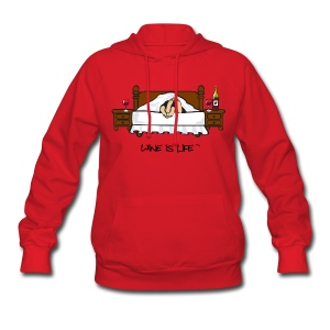 Wine is Life In Bed - Womens Hooded Sweatshirt - Women's Hoodie