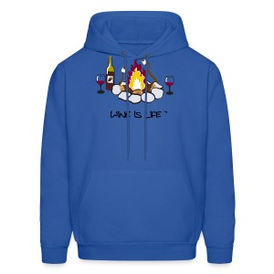 Wine is Life Campfire - Mens Hodded Sweatshirt - Men's Hoodie