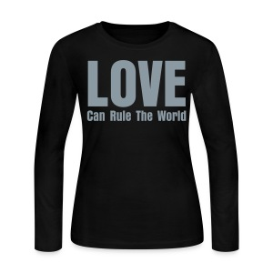 1915 (Love Can Rule The World) Black/Silver Long Sleave Tee (Womens) - Women's Long Sleeve Jersey T-Shirt