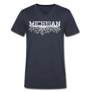 T-Shirts ~ Men's V-Neck T-Shirt by Canvas ~ My Michigan Roots