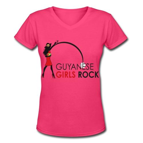 Guyanese Girl T-Shirt - Women's V-Neck T-Shirt