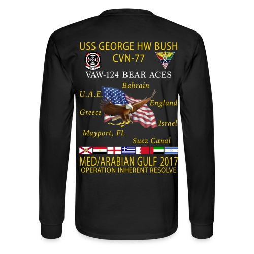 USS GEORGE HW BUSH w/ VAW-124 BEAR ACES 2017 CRUISE SHIRT - LONG SLEEVE - Men's Long Sleeve T-Shirt