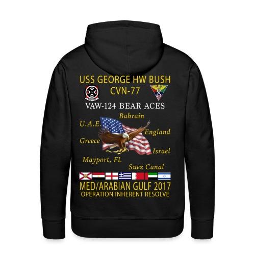 USS GEORGE HW BUSH w/ VAW-124 BEAR ACES 2017 CRUISE HOODIE - Men's Premium Hoodie