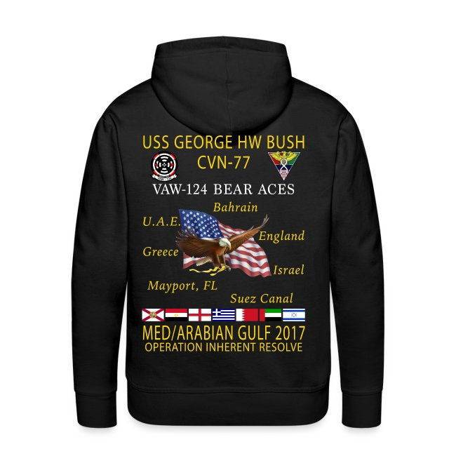 USS GEORGE HW BUSH w/ VAW-124 BEAR ACES 2017 CRUISE HOODIE